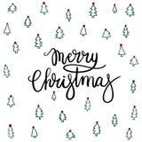 Carte de voeux de lettrage de main de Joyeux Noël Photographie stock libre de droits