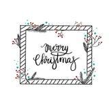 Carte de voeux de lettrage de main de Joyeux Noël Calligraphie moderne Image libre de droits