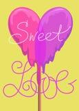 Carte de voeux de Lollypop carte douce de valentine d'amour Ce garçon aime des sports et des jeux de plein air Image libre de droits