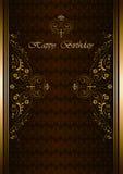 Carte de voeux de luxe avec le joyeux anniversaire sur le fond de Bourgogne Photo stock