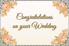 Carte de voeux de mariage au jour spécial pour des nouveaux mariés Image libre de droits