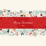 Carte de voeux de modèle de vintage de Joyeux Noël illustration stock