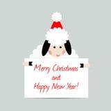 Carte de voeux de moutons de Noël Image stock