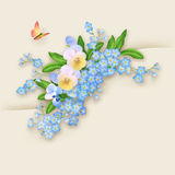 Carte de voeux de myosotis de fleurs Images libres de droits