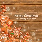 Carte de voeux de Noël avec des biscuits de pain d'épice illustration libre de droits
