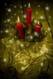 Carte de voeux de Noël avec des bougies Photo libre de droits