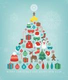 Carte de voeux de Noël avec des souhaits de Joyeux Noël et de bonne année Éléments de conception de Noël Vecteur Image stock