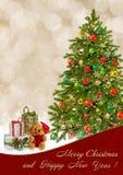 Carte de voeux de Noël avec l'arbre et les cadeaux de Noël Photographie stock libre de droits