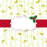 Carte de voeux de Noël avec la trame fleurie Photo stock