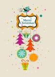 Carte de voeux de Noël de calibre, ruban, vecteur Photos stock