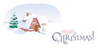 Carte de voeux de Noël de paysage d'hiver Photo libre de droits
