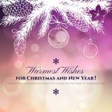 Carte de voeux de Noël de vintage et de nouvelle année avec illustration de vecteur