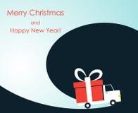 Carte de voeux de Noël et de nouvelle année avec le fourgon de livraison de cadeau illustration stock