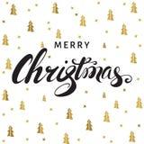 Carte de voeux de Noël et de nouvelle année avec le lettrage sur le blanc Image libre de droits
