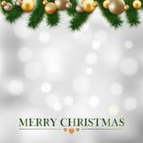 Carte de voeux de Noël, guirlande des brindilles de sapin, boules d'or Photographie stock libre de droits