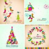 Carte de voeux de Noël de calibre, botte, arbre, vecteur Photos libres de droits