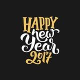 Carte de voeux 2017 de nouvelle année avec la calligraphie Photographie stock