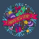 Carte de voeux de nouvelle année avec la substance de vacances illustration de vecteur