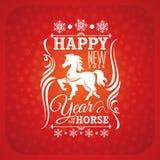 Carte de voeux de nouvelle année avec le cheval