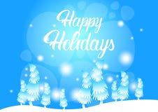 Carte de voeux de nouvelle année de Forest Landscape Merry Christmas Happy d'hiver Photo stock