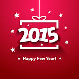 Carte de voeux de nouvelle année du boîte-cadeau 2015 de livre blanc
