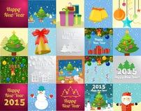Carte de voeux de nouvelle année avec le bonhomme de neige d'arbre de Noël Image stock