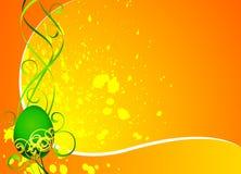 Carte de voeux de Pâques avec l'oeuf peint vert Image libre de droits