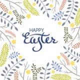 Carte de voeux de Pâques avec le cadre des éléments floraux illustration libre de droits