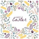 Carte de voeux de Pâques avec le cadre des éléments floraux illustration stock