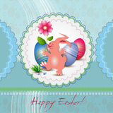 Carte de voeux de Pâques avec le lapin Photo stock