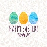 Carte de voeux de Pâques avec les oeufs peints illustration stock