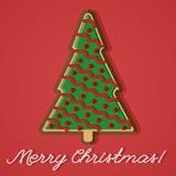 Carte de voeux de pain de gingembre d'arbre de Noël Photos stock