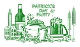 Carte de voeux de Patrick Day Beer Festival Banner de saint Photo stock