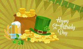Carte de voeux de Patrick Day Beer Festival Banner de saint Images stock