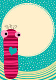 Carte de voeux de poupée de chaussette avec la lune Photographie stock libre de droits
