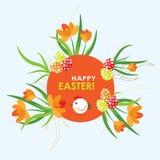 Carte de voeux de Pâques de calibre, poussin, vecteur Images libres de droits