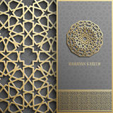 Carte de voeux de Ramadan Kareem, style islamique d'invitation Modèle d'or de cercle arabe Ornement d'or sur le noir, brochure Images libres de droits