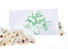 Carte de voeux de ressort avec les fleurs blanches et le ressort des textes bonjour Lettrage de calligraphie Photos stock