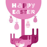 Carte de voeux de rose de Bunny Happy Easter Holiday Banner de groupe de lapin plate Image libre de droits