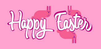 Carte de voeux de rose de Bunny Happy Easter Holiday Banner de groupe de lapin plate Images libres de droits