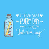 Carte de voeux de Saint-Valentin avec le lettrage Photos libres de droits