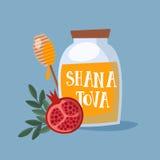 Carte de voeux de Shana Tova, invitation pendant la nouvelle année juive Rosh Hashanah Pot de maçon avec du miel, et le fruit de  illustration de vecteur