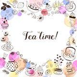 Carte de voeux de temps de thé Photos stock