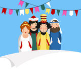 Carte de voeux de vacances de Chag Purim Sameach pour le festival juif La Reine tirée par la main Esther, le Roi Ahasuerus, Haman illustration libre de droits