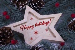 Carte de voeux de vacances de nouvelle année de Noël avec les cinq baies et textes rouges dirigés en bois de cônes de branches de Images libres de droits