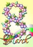 Carte de voeux de vacances le jour des femmes internationales 8 mars Image libre de droits