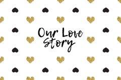 Carte de voeux de Valentine avec le texte, le noir et les coeurs d'or Photos stock