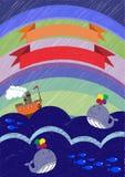 Carte de voeux de vie marine de vecteur Photos libres de droits