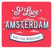 Carte de voeux de vintage Amsterdam - des Pays-Bas illustration stock