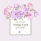 Carte de voeux de vintage avec l'hortensia et les pivoines Image libre de droits